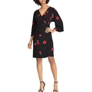 NWT LRL Black w/ Red Roses Faux Wrap Dress 8